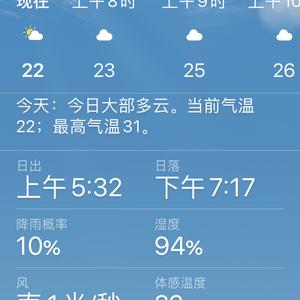 出门看天,太阳早早升起~小满后第九天,气温较前几日高~今日大部多云,南风1米/秒,气温22到31度,湿度94%~宝宝们依旧不遮阳不遮雨~